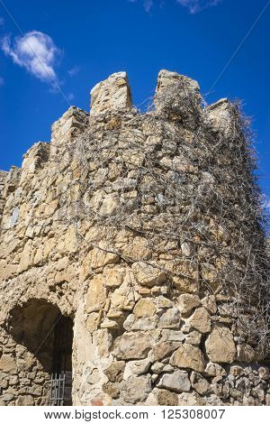 medieval stone tower in the city of Toledo, Spain, ancient fortification
