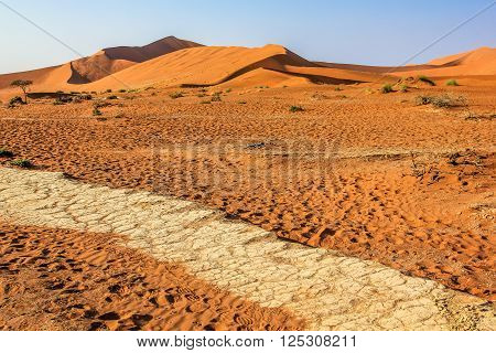 The name of Sossusvlei or Sossus Vlei , refers to an ephemeral waterhole surrounded by high dunes , located in the southern Namib Desert , Namibia. Namib- Naukluft National Park, Namibia, Africa.