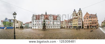 WITTENBERG GERMANY - MAR 25 2016: The Main Square of Luther City Wittenberg in Germany. Wittenberg is UNESCO World Heritage Site.