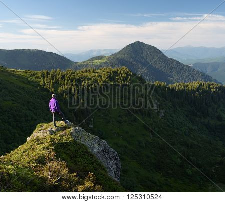 Summer landscape. Tourist in mountains
