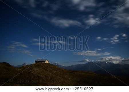 Night landscape. Light of the moon in mountains. Georgia, Svaneti, Caucasus