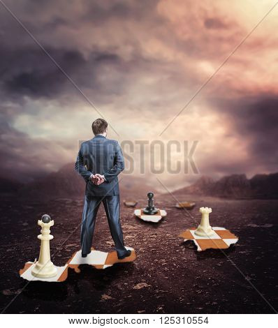 Businessman on the chess board