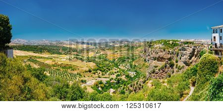 Panoramic View Of Summer Andalusian Lanscape Near Ronda, Spain.