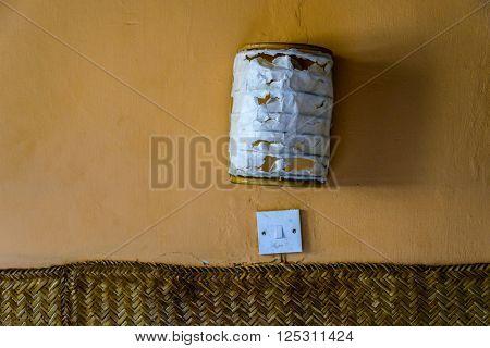 Flush mount wall lamp, torn paper