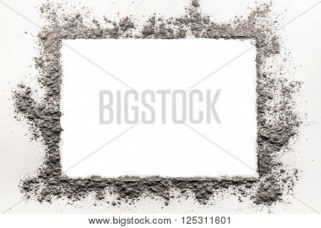 Ash dirt dust sand grey frame on a white background