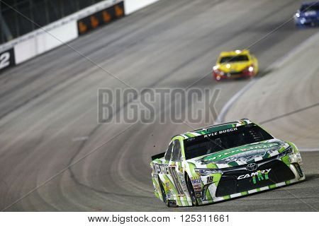 Ft. Worth, TX - Apr 09, 2016: Kyle Busch (18) battles for position during the Duck Commander 500 at the Texas Motor Speedway in Ft. Worth, TX.