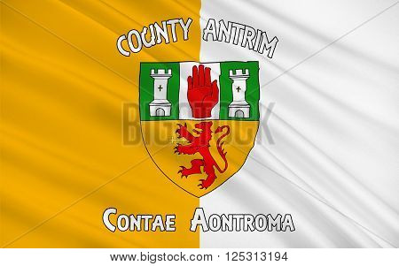 Flag of County Antrim (named after the town of Antrim) is one of six counties that form Northern Ireland situated in the north-east of the island of Ireland.