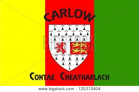 Flag of County Carlow is a county in Ireland. It is part of the South-East Region and is also located in the province of Leinster