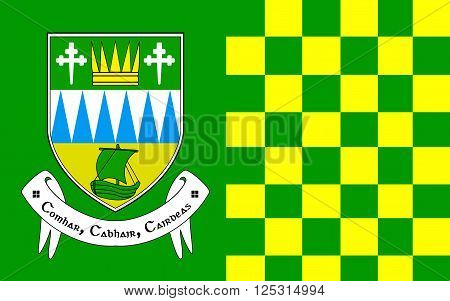 Flag of County Kerry is a county in Ireland. It is located in the South-West Region and is also part of the province of Munster. Kerry County Council is the local authority for the county and Tralee serves as the county town.