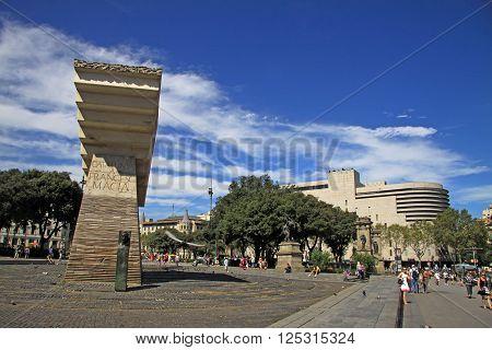 Barcelona, Catalonia, Spain - August 31, 2012: Monument To Francesc Macia I Llussa On Catalonia Squa