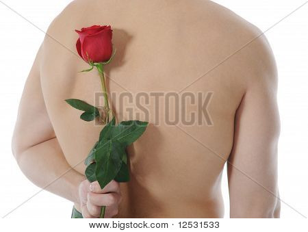 man  holding a red rose