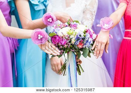 Close up of bride and bridesmaids bouquet.