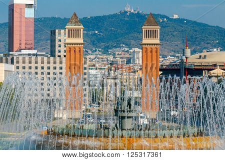 Magic Fountain of Montjuic near the National Palace of Art of Catalonia in Barcelona.