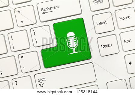 White Conceptual Keyboard - Green Key With Microphone Symbol