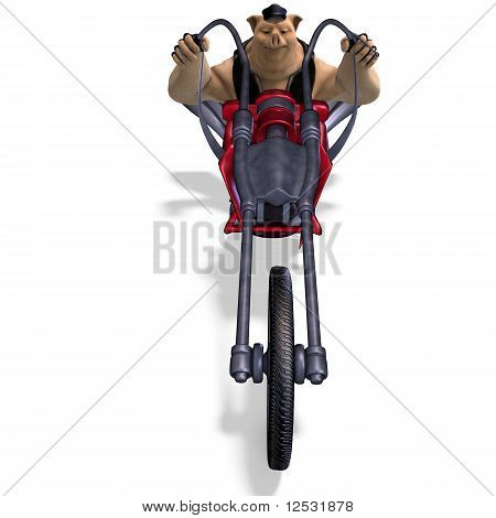 toon animal big pig as a biker
