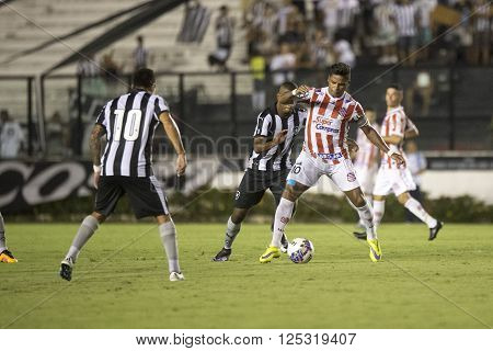 Rio de Janeiro Brasil - April 09 2016: Almir and Ribamar player in match between Vasco da Gama and Madureira by the Carioca championship in the S ** Note: Visible grain at 100%, best at smaller sizes