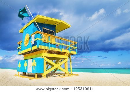 Colorful Lifeguard Tower in South Beach Miami Beach Florida USA