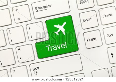 White Conceptual Keyboard - Travel (green Key With Airplane Symbol)