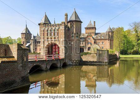 Haarzuilens, Netherlands - May, 6: This is a master's yard of castle de Haar near town Utrecht May 6, 2013 in Haarzuilens, Netherlands.