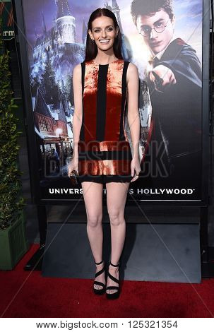 LOS ANGELES - APR 05:  Lydia Hearst arrives to the Wizarding World of Harry Potter Opening  on April 05, 2016 in Hollywood, CA.