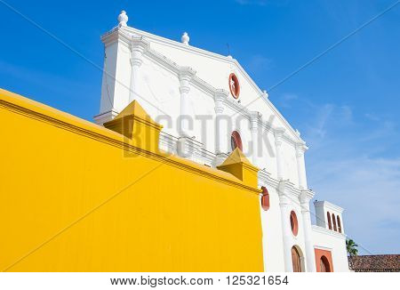 GRANADA NICARAGUA - MARCH 20 : The San Francisco church in Granada Nicaragua on March 20 2016. The facade of the building is neoclassical and the interior is romantical