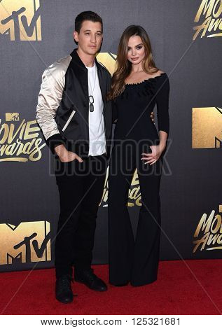 LOS ANGELES - APR 09:  Miles Teller arrives to the Mtv Movie Awards 2016  on April 09, 2016 in Hollywood, CA.