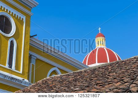GRANADA NICARAGUA - MARCH 20 : Architectural details in Granada Nicaragua on March 20 2016. Granada was founded in 1524 and it's the first European city in mainland America