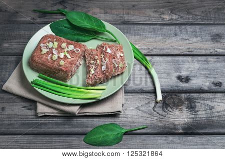 Jellied Meat Jelly On A Green Plate