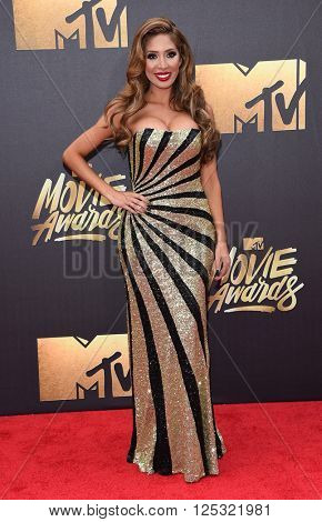 LOS ANGELES - APR 09:  Farrah Abraham arrives to the Mtv Movie Awards 2016  on April 09, 2016 in Hollywood, CA.