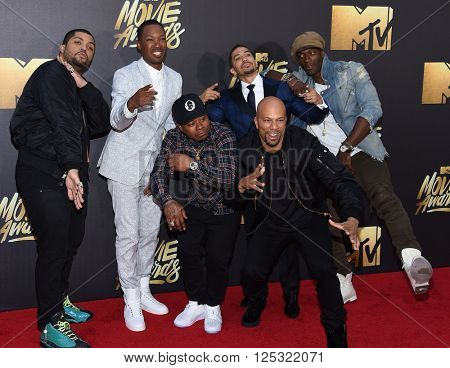 LOS ANGELES - APR 09:  Common, O'Shea Jackson Jr., Corey Hawkins, Jason Mitchell, Neil  arrives to the Mtv Movie Awards 2016  on April 09, 2016 in Hollywood, CA.