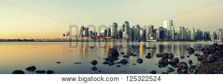 Vancouver downtown with urban buildings at waterfront.