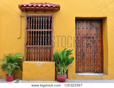 CARTAGENA COLOMBIA - FEB 04 : Architectural details in Cartagena Colombia on Februery 04 2016. The historic port city Cartagena is UNESCO World Heritage Site since 1984.