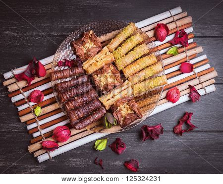 Glass Plate And An Assortment Of Baklava