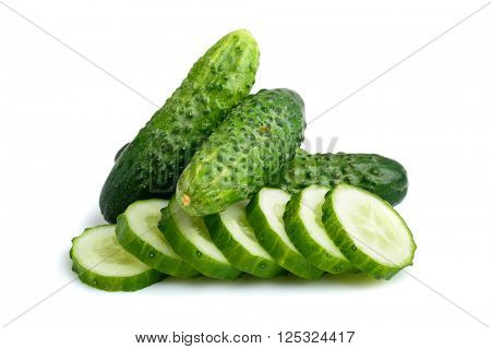 cucumbers whole and slices isolated on white