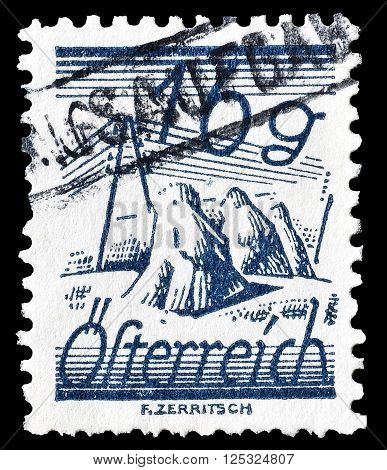 AUSTRIA - CIRCA 1925:  Cancelled postage stamp printed by Austria, that shows  Fields and telegraph lines.