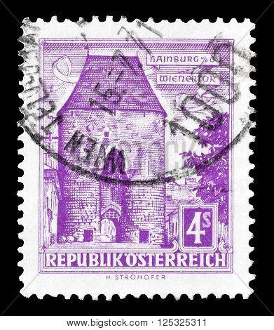 AUSTRIA - CIRCA 1960:  Cancelled postage stamp printed by Austria, that shows Vienna gate Hainburg.