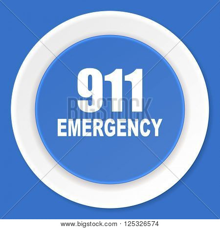 number emergency 911 blue flat design modern web icon