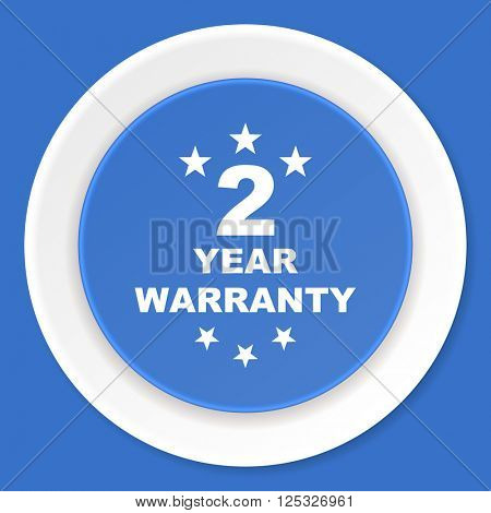 warranty guarantee 2 year blue flat design modern web icon