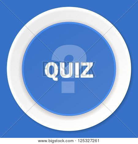 quiz blue flat design modern web icon