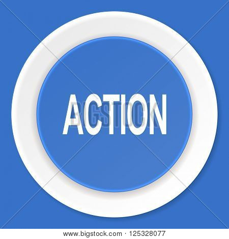 action blue flat design modern web icon