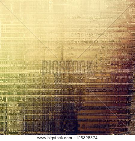 Old style decorative composition or designed vintage template with textured grunge elements and different color patterns: yellow (beige); brown; green; purple (violet); gray