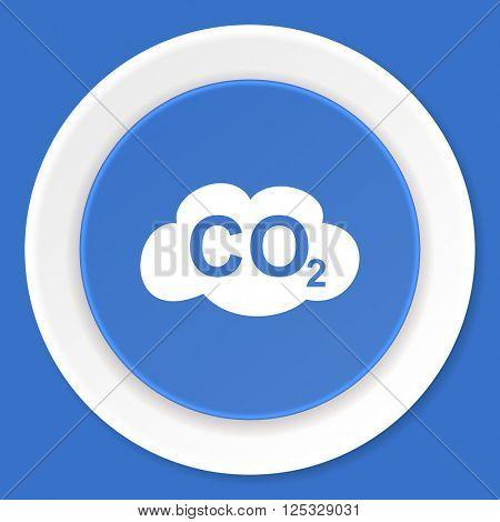carbon dioxide blue flat design modern web icon