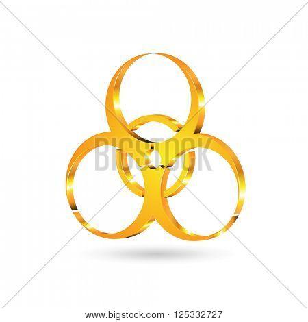 vector of golden danger sign on white