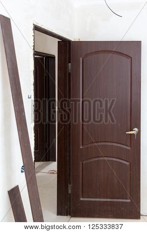 Just Installed Door In Door Opening Filled With Foam
