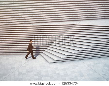 Businessman moving forward and up the stairs.  3D illustration.