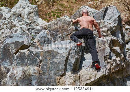 Man Free Climbing
