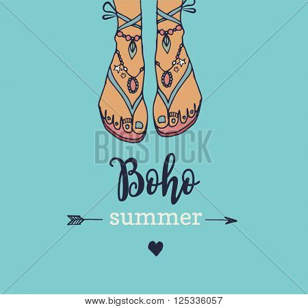 Bohemian summer, vector poster with woman's sandals