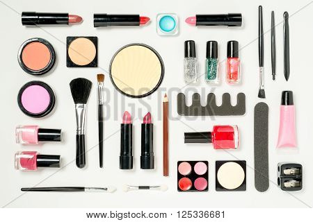 A Comprehensive Set Of Beauty Cosmetics Arranged Neatly