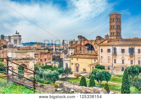 Aerial View Of The Roman Forum In Rome, Italy