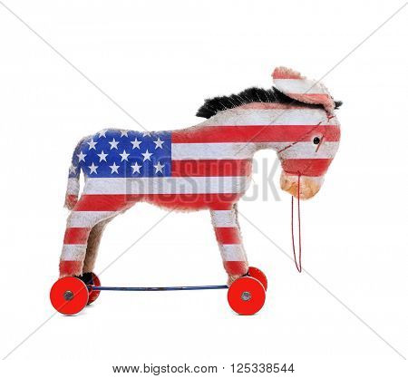 Democrat donkey colored as a american flag isolated on white background. Rocking Donkey going to elections. Digital artwork on political theme.